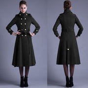 Stand Collar Button Belt Pleated Long Coat - Meet Yours Fashion - 5