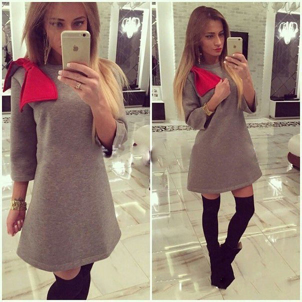 Shoulder Bowknot 3/4 Sleeves Mini Dress - MeetYoursFashion - 3