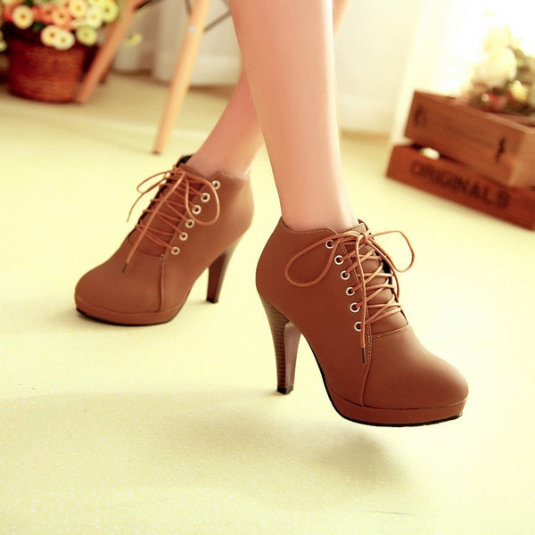 Round Toe Stiletto High Heel Lace Up Ankle Boots - MeetYoursFashion - 7