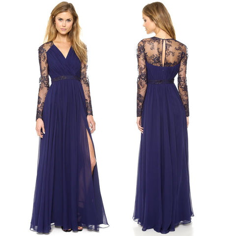Beautiful Chiffon Lace Patchwork Deep V Neck Long Party Dress