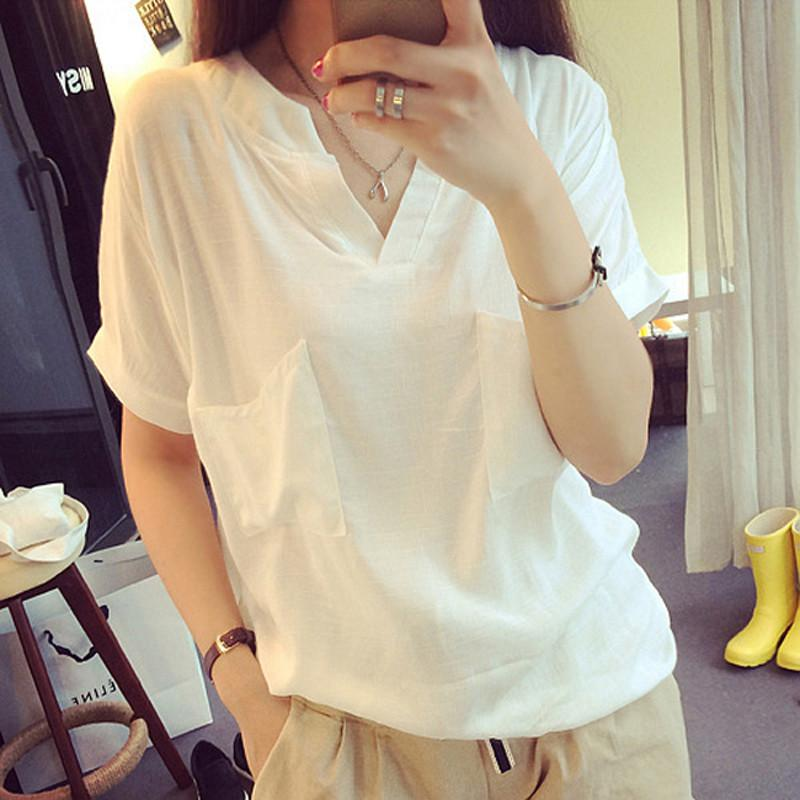 V-neck Short Sleeves Casual Plus Size Pure Color Blouse - Meet Yours Fashion - 2