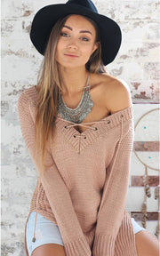 Leisure Pullover V-neck Knit Solid Color Sweater - Meet Yours Fashion - 1