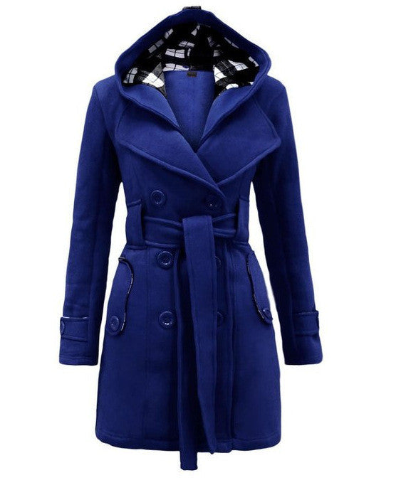 Plus Size Double Breasted Long with Belt Hooded Coat - MeetYoursFashion - 6