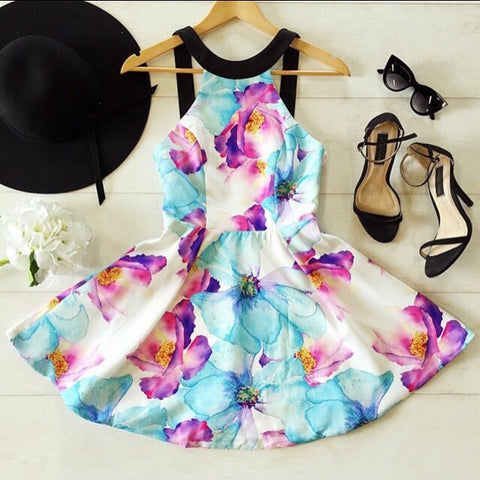 Flower Print Floral Backless Mini Tank Dress - Meet Yours Fashion - 3