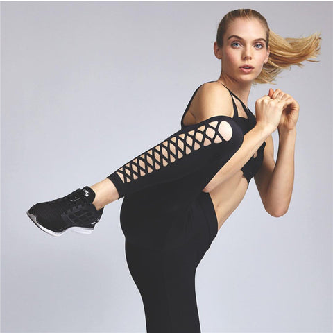 Black Cross Bandage Slim Casual Sports Yoga Leggings