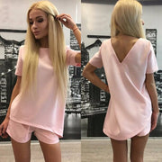 Short Sleeves Pure Color Blouse Shorts Two Pieces Suits - Meet Yours Fashion - 4