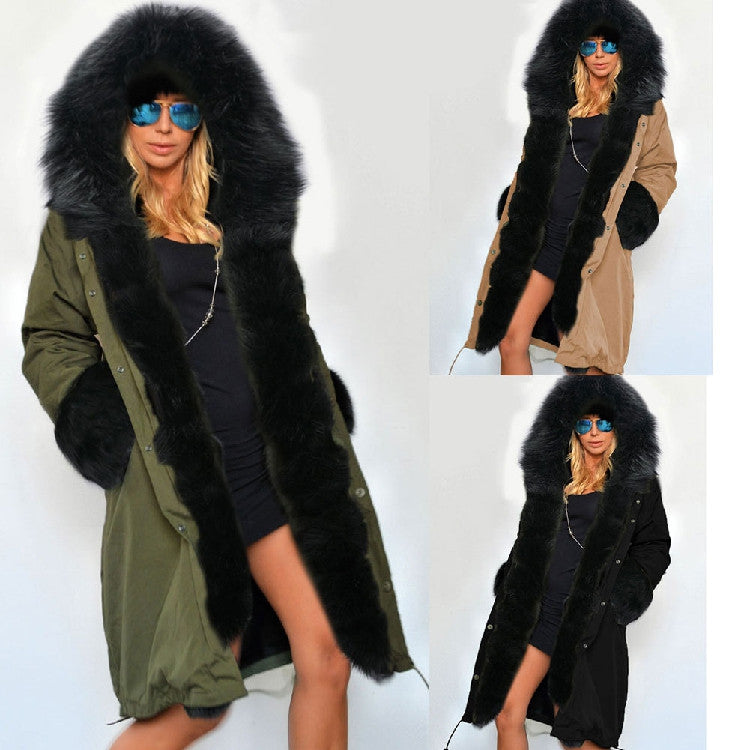 Zipper Hooded Faux Fur Cuff Long Cotton Coat - Meet Yours Fashion - 2