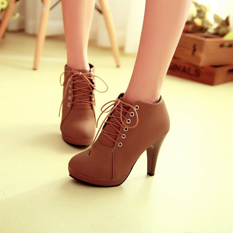 Round Toe Stiletto High Heel Lace Up Ankle Boots - MeetYoursFashion - 6