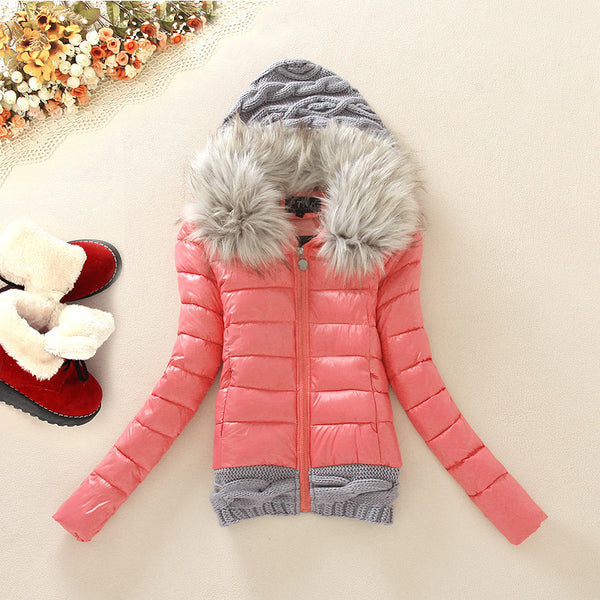 Knitted Splicing Hooded Down Coat - MeetYoursFashion - 3