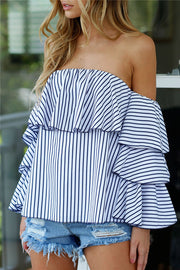Off-Shoulder Falbala Long Sleeve Strip Loose Blouse