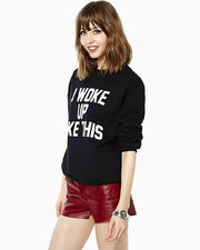 Letter Scoop Pullover Splicing Long Sleeve Slim Sweatshirt - Meet Yours Fashion - 4