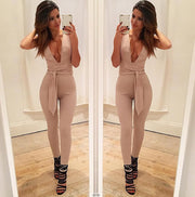 Deep V-neck Sleeveless Straps Waist Slim Long Jumpsuit
