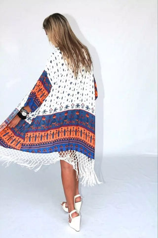 Print Tassels Cardigan Long Sleeves Fashion Sweater - Meet Yours Fashion - 4