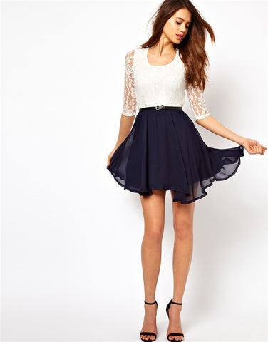 Lace Splicing Short Chiffon With Belt Dress - MeetYoursFashion - 7