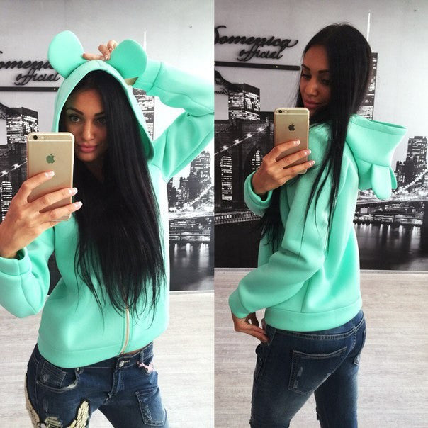 Solid Candy Color Zipper Cute Short Hooded Coat - Meet Yours Fashion - 5