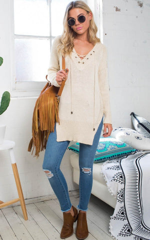 Leisure Pullover V-neck Knit Solid Color Sweater - Meet Yours Fashion - 3