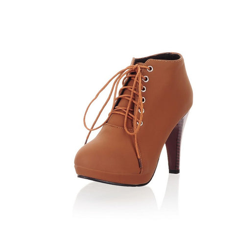 Round Toe Stiletto High Heel Lace Up Ankle Boots - MeetYoursFashion - 11