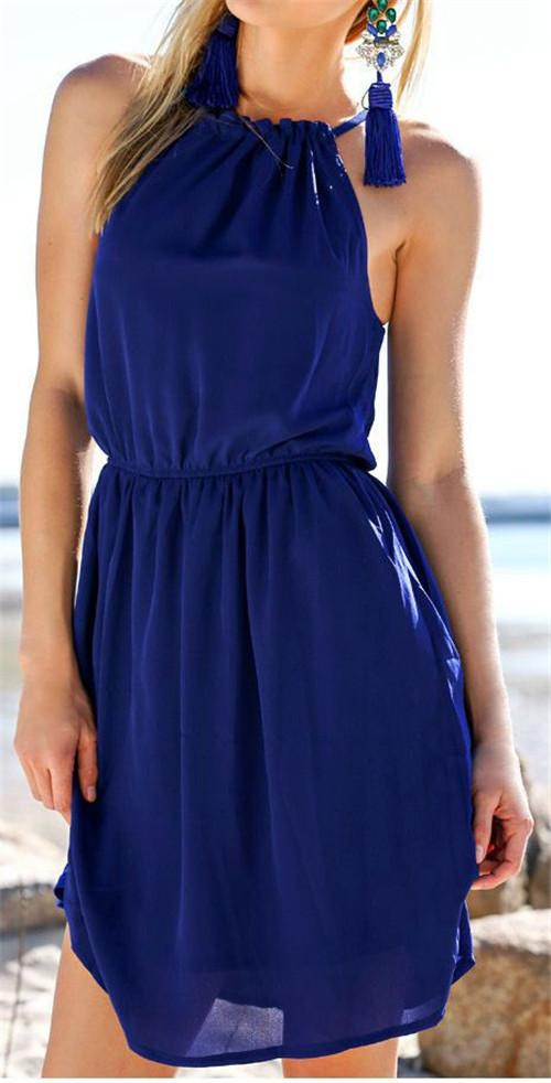 Pure Color O-neck Backless Sleeveless Short Dress - Meet Yours Fashion - 3