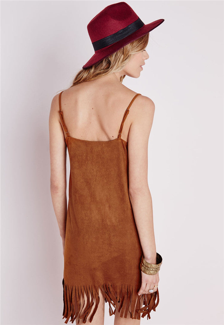 Spaghetti Strap Tassels V-neck Backless Short Dress - Meet Yours Fashion - 4