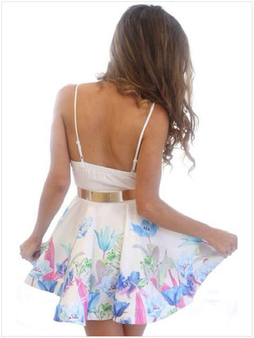 Floral Printed Deep V-Neck Strap Dress Nightclub - MeetYoursFashion - 6