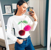 Cute Furry Ball Cherry Scoop Long Sleeve T-Shirt