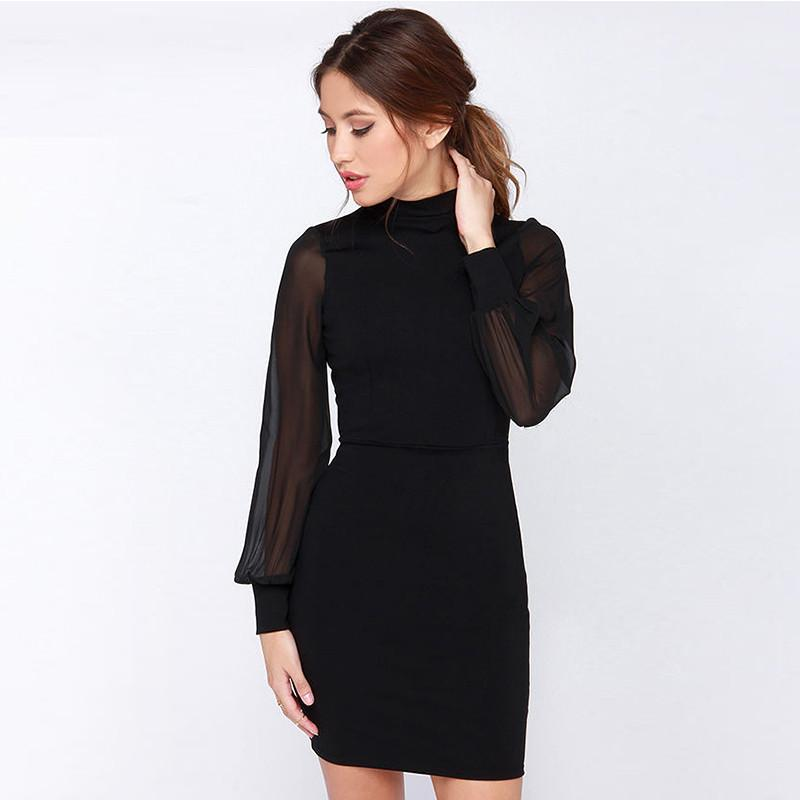 Slim Pure Color Splicing Backless Long sleeve Short Dress - Meet Yours Fashion - 1