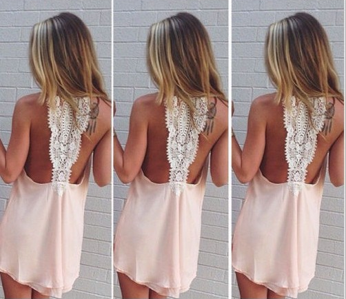 Chiffon Backless Sleeveless Scoop Short Dress