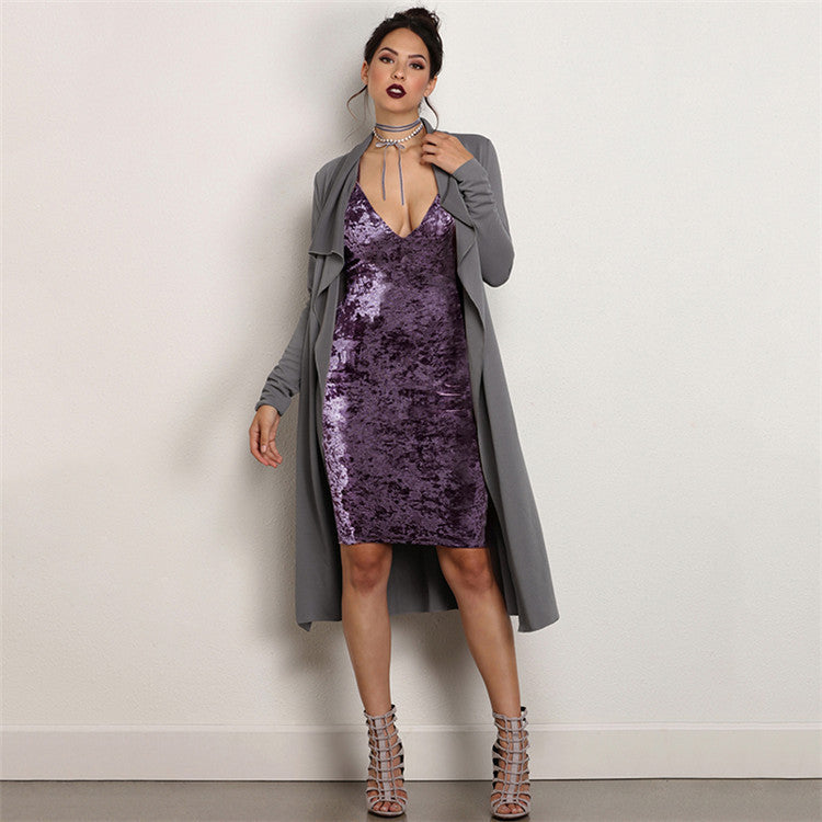 Elegant Purple Spaghetti Strap Velvet Backless Knee-Length Dress