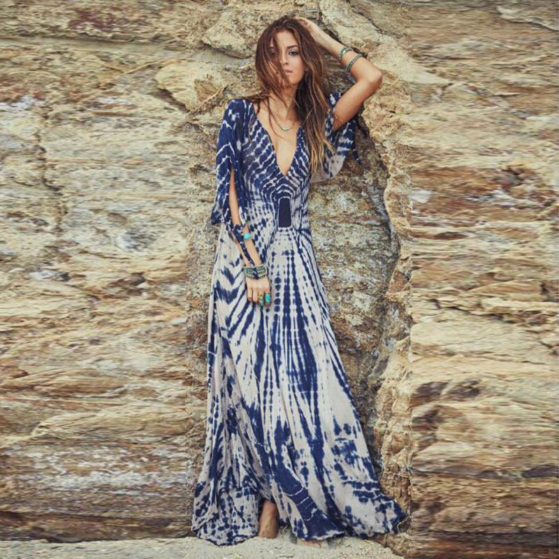 Deep V-neck Irregular Print Sexy Long Beach Dress - Meet Yours Fashion - 1
