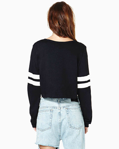 Ribbed Knit Solid Color Short Crop Sweatshirt - Meet Yours Fashion - 6