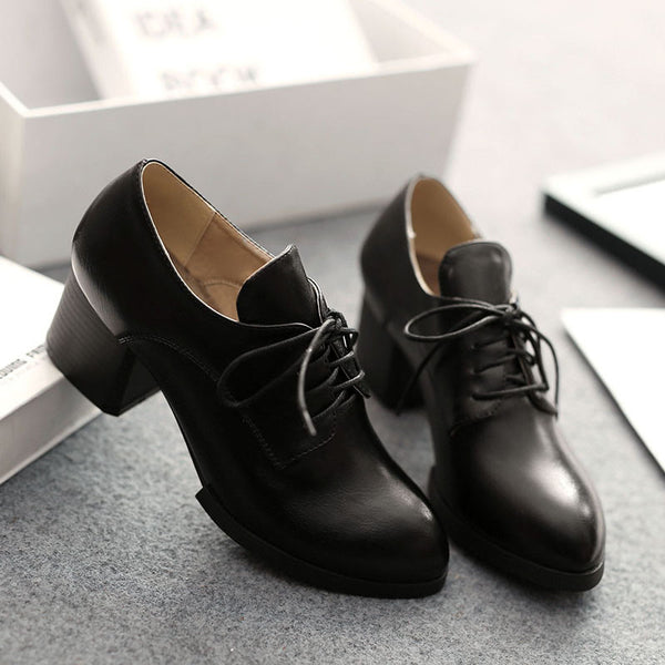 British Leisure Style Lace Up Chunky Heel Shoes