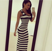 Striped Sleeveless Sheath Bodycon Low-cut Long Sexy Dress - Meet Yours Fashion - 2