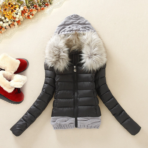 Knitted Splicing Hooded Down Coat - MeetYoursFashion - 5