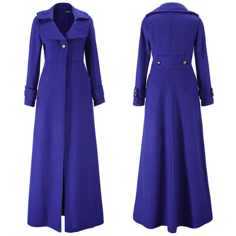 Turn-down Collar Woolen Slim Full Length Coat - Meet Yours Fashion - 10