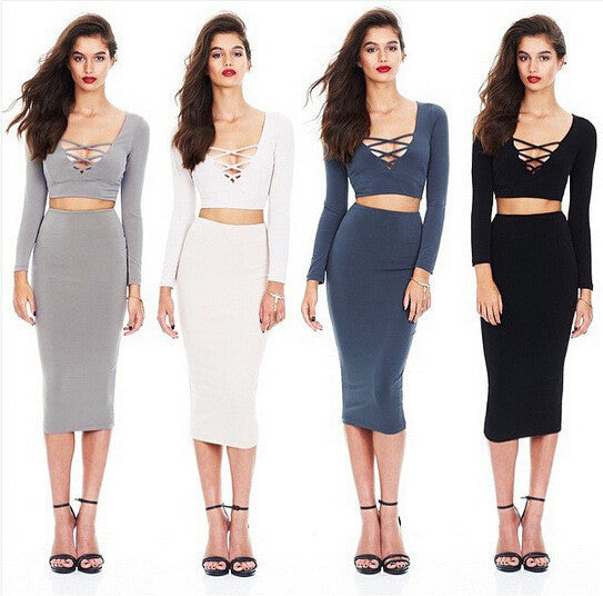 Bandage Crop Top and Bodycon Skirt Dress Suit - MeetYoursFashion - 5