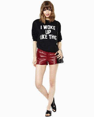Letter Scoop Pullover Splicing Long Sleeve Slim Sweatshirt - Meet Yours Fashion - 1