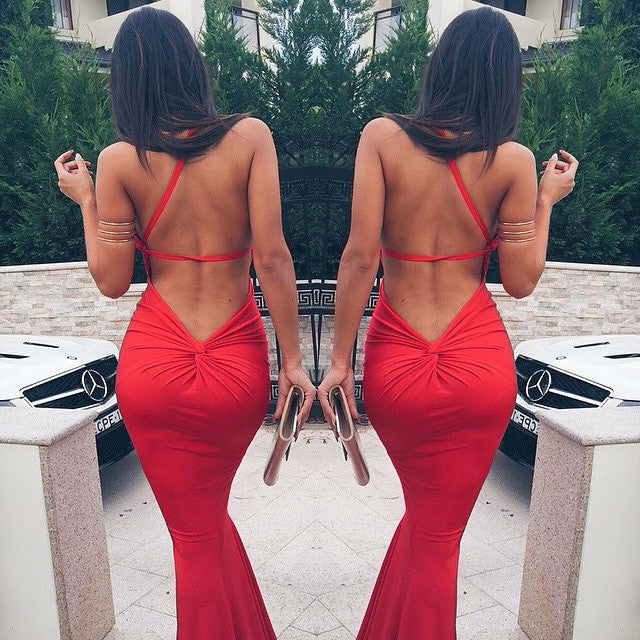 Bandage Backless One Shoulder Mermaid Beach Dress - MeetYoursFashion - 2