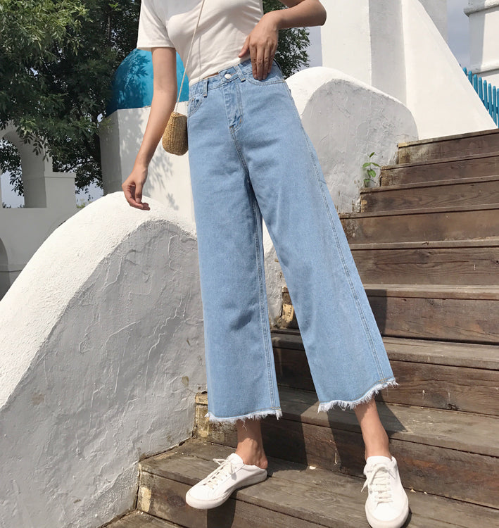 Ruffles High Waist Pure Color Loose Wide-leg 9/10 Long Denim Jeans Pants