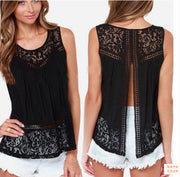 Sleeveless Scoop Lace Patchwork Spilt Crochet Blouse - Meet Yours Fashion - 2