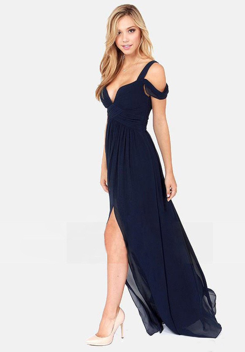 Solid Color Sexy Backless V-neck Party Dress Long Dress - Meet Yours Fashion - 7