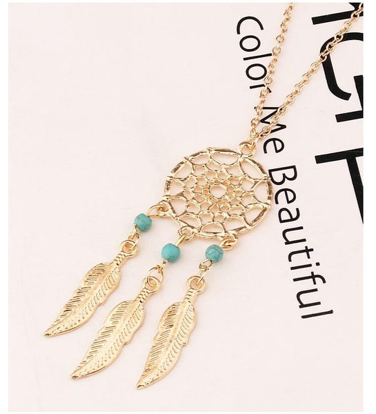 Europe Fashion Feather Clavicle Pendant Necklace