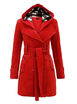 Plus Size Double Breasted Long with Belt Hooded Coat - MeetYoursFashion - 4
