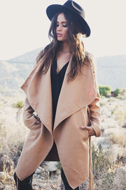 Khaki Belt Asymmetric Long sleeve Coat - Meet Yours Fashion - 5
