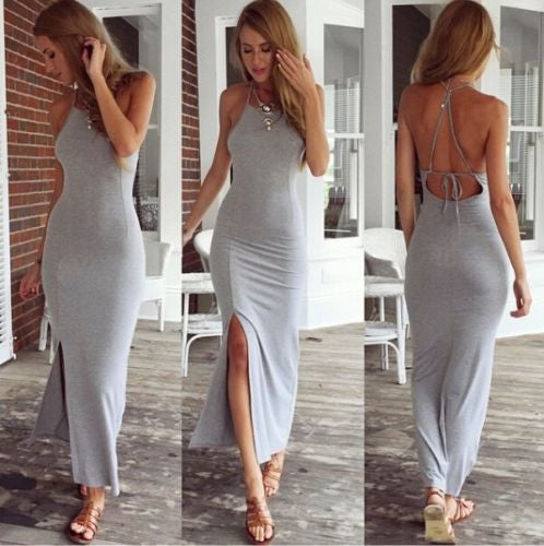 Spaghetti Strap Split Backless Solid Slim Beach Dress - Meet Yours Fashion - 2