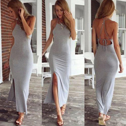 Spaghetti Strap Split Backless Solid Slim Beach Dress