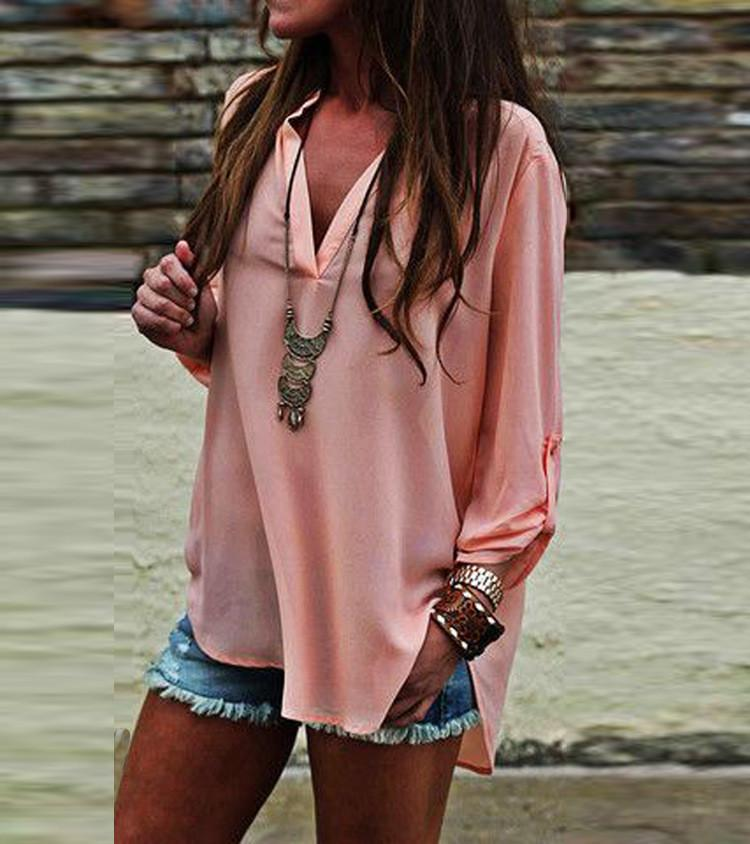 V-neck Long Sleeves Casual Sexy Chiffon Blouse - Meet Yours Fashion - 2