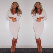 Bandage Crop Top and Bodycon Skirt Dress Suit - MeetYoursFashion - 4