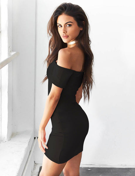 Fashion Off Shoulder Pure Color Bodycon Short Sleeve Dress