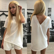 Short Sleeves Pure Color Blouse Shorts Two Pieces Suits - Meet Yours Fashion - 2