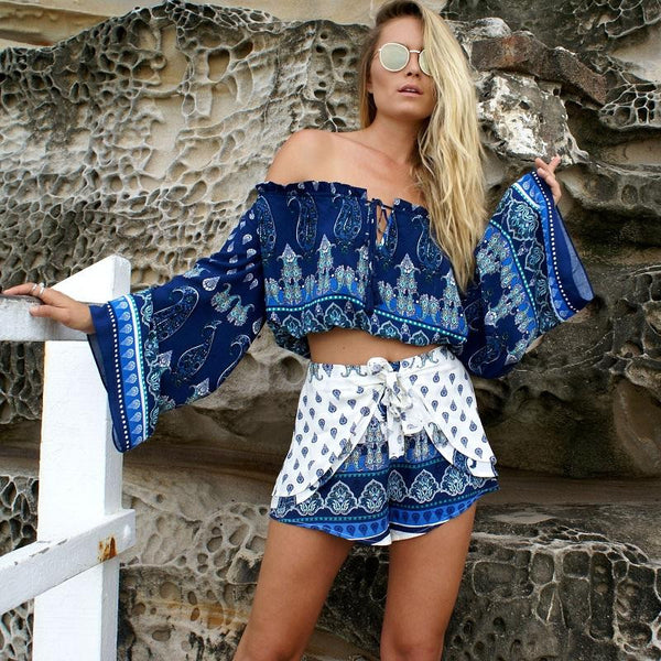 Off-shoulder Bohemian Style Flower Print Long Pagoda Sleeves Crop Top Blouse